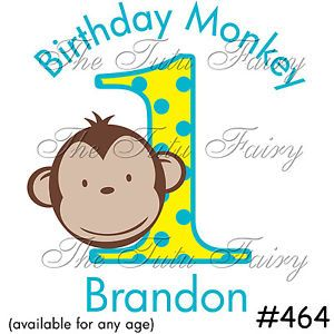 Mod Monkey Boy Birthday Shirt Name Age 1st 2nd 3rd Party T Shirt T Tshirt Custom
