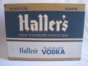 Vintage Cardboard Haller's Whiskey Vodka Beer Bottle Empty Box Case 1962