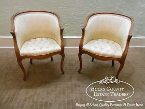 Vintage 1940s Pair of Petite French Louis XV Style Bergere Living Room Chairs