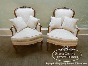 Masterpiece by Fogle Pair of French Louis XV Style Bergere Living Room Chairs