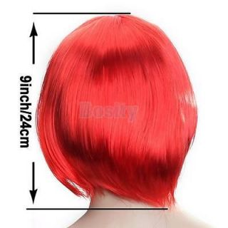 5X Bright Red Fashion Short Punk Bob Full Wig Costume Cosplay Party Role Playing