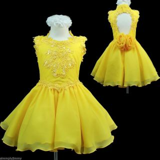 New Infant Girl National Glitz Pageant Wedding Party Short Yellow Dress 1 7
