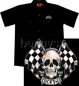 New Skull Flags Hot Rod Car Work Shirt Lucky 13 XXL
