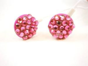 Hot Pink Crystal Rhinestone Earphones Earbuds  3 5mm Bling