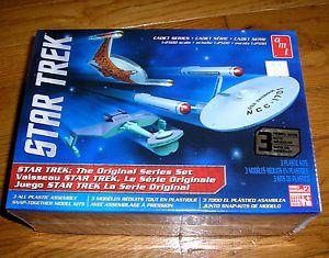 AMT Star Trek TOS Set Enterprise Klingon D7 Romulan Bird of Prey Model Kits