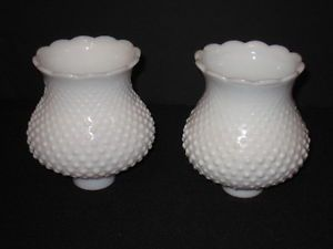 2 Vintage White Milk Glass Hobnail Lamp Globes Shades Chandelier