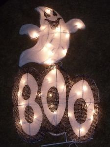 Halloween Outdoor Lighted Hanging Boo Ghost Sign Figure Yard Light Decoration 2'