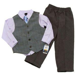 Nautica Baby Boys 12 mos Purple Dress Shirt Tie Gray Vest Pants Suit Set