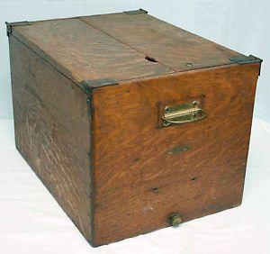 Antique Oak Wood File Box Cabinet Geo G Fetter Louisville Holds Hanging Files