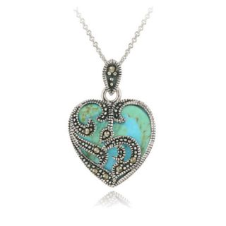 925 Silver Marcasite Turquoise Heart Necklace