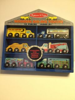 Melissa Doug Wooden Big Rig Trucks Hand Crafted Wood Toys New