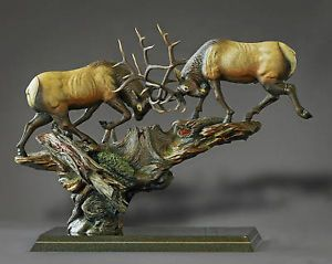 Awesome Bronze Bull Fighting Elk Sculpture Barry Stein