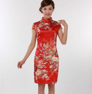 Black Red White Chinese Women's Silk Mini Dress Cheongsam Sz s M L XL XXL