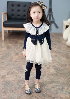 New Kids Girls Princess Party Lace Long Sleeve Tulle Tutu Dress Age 1 7Years