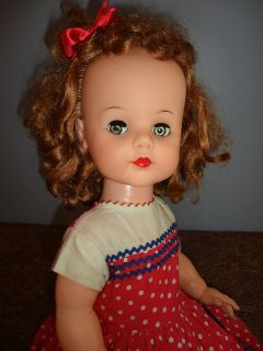 "Cute 50s Ideal 23"" Saucy Walker Doll Original Clothes Red Hair Gray Flirty Eyes"