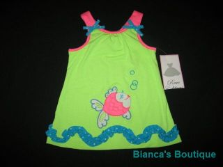 "New ""Bubbly Fish"" Neon Shorts Girls Clothes 3T Spring Summer Boutique Toddler"