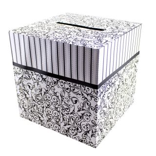 "Black White Wedding Card Money Gift Box Reception Wishing Well 12""X12"""