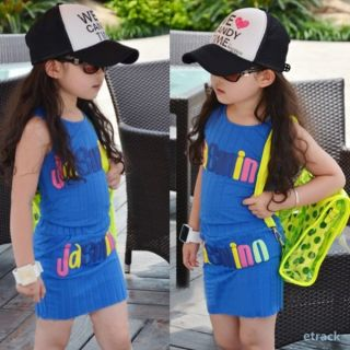 2pcs New Kids Baby Girls Tank Tops Dress Set Costume Words Pattern Clothes 2 7Y