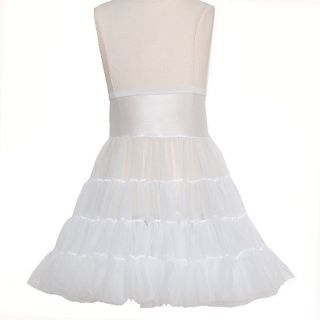 Little Girls 6X White Tea Length Bouffant Nylon Petticoat Half Slip
