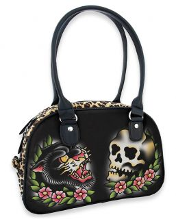 Liquor Brand Panther Skull Rockabilly Tattoo Leopard Print Handbag