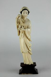 Antique Chinese Carved Faux Ivory or Bone Kwan Yin Buddha Statue Figurine 3 SWP