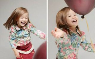 New Kids Toddlers Girls Lovely Flower Long Sleeve Cotton Shirts Tops Ages 2 8Y