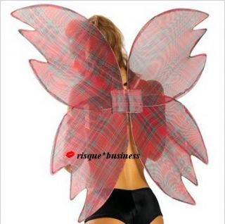 Gothic Tartan Punk Dark Bad Fairy Pixie Fallen Angel Wings Fancy Dress Costume
