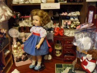 "Red Vinyl Mary Jane Original Vintage 1972 16"" Shirley Temple Doll Shoes w Socks"