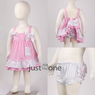 Kids Baby Girls Ruffle Tops Pants Set Bloomers Outfit Dress Nappy Cover 6M 3Y