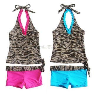 Girls Brown Zebra Halter Tankini Kids Swimsuit Swimwear Bathing Suit 8 10 12 14