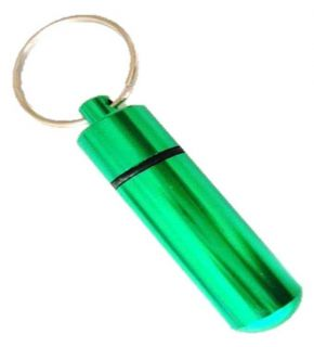 1 x New Aluminium Pill Holding Container Box Key Ring Pet Name Tag Holder Green