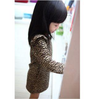 Baby Girls Clothes Kids Long Sleeve Shrug Shoulder Dress Girls Leopard Dresses