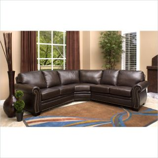 Abbyson Living Arizona Leather Sectional Sofa in Dark Truffle   CI N410 BRN