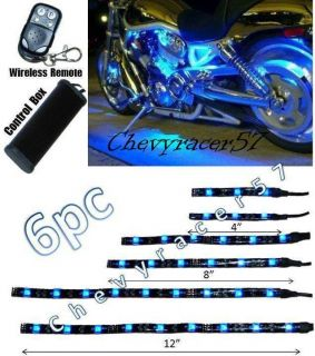6pc Blue LED Motorcycle Chopper Frame Glow Lights Flexible Neon Strips 12V Kit