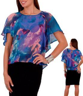 Foxy Fun Sheer Watercolor Cartan Tunic Top 3 Sexy Color Floral Print Choices
