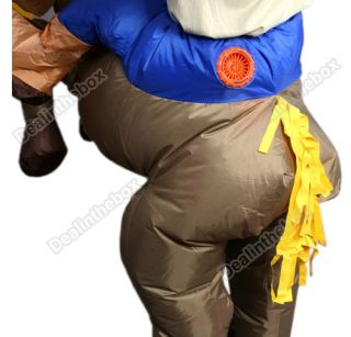 Inflatable Western Cowboy Horse Rider Suit Halloween Costume Cosplay Fancy Dress