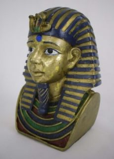 Egyptian King Tut and Queen Bust Head Statue Replica 6""
