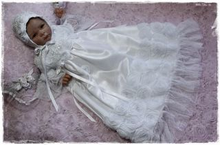 Reborn Baby White French Roses Beaded Lace Gown Dress Bonnet Christening