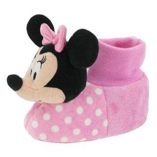 Disney Minnie Mouse Plush Head Socktop Slippers Toddler Medium 7 8 Pink