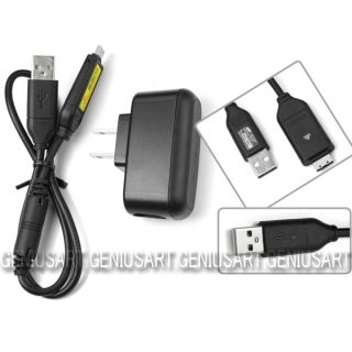 SUC C3 USB Data Sync Cable w AC Home Wall Charger for Samsung SL50 SL202 SL420