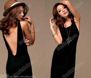 Vogue Black Sexy Women Backless Halter Long Maxi Dress Sleeveless Casual Evening
