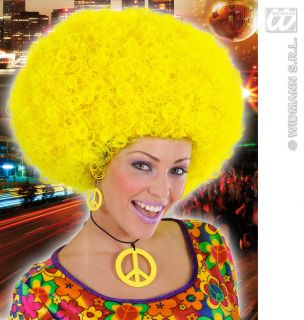 Ladies Massive Yellow Afro Wig Beyonce Austin Powers 70s 80s Disco Fancy Dress