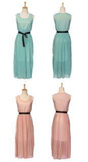 Ladies Womens Boho Sleeveless Vest Chiffon Pleated Belted Long Skirt Maxi Dress