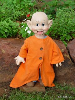 "1938 Ideal Composition Dopey Ventriloquist Doll 20"" Snow White Seven Dwarfs"