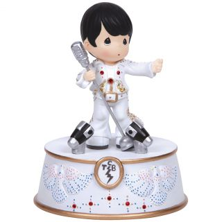 New Precious Moments Elvis TCB Light Up Figure King Rock Roll Musical Box