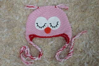 Cute Handmade Baby Girl Owl Hat Beanie New Pink Red Brim Newborn Photo Prop Gift