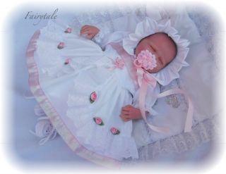 Details about FAIRYTALE NEWBORN BABIES FRILLY DRESS & BONNET REBORN 18