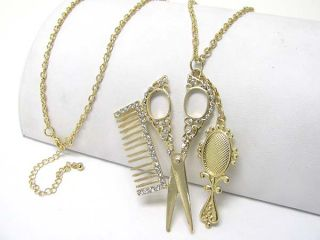 New Hair Stylist Crystal Scissors Comb Mirror Necklace
