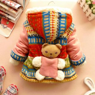 Baby Girl Clothes Winter Coat Kid Coat Gown 12M 3Y 3D Bear Baby Dress Free SHIP