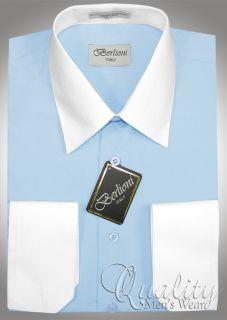 Berlioni 19 19 5 36 37 White Collar Cuffs Baby Blue Dress Shirt $69